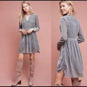 Holding Horses Gray Velvet Button Boho Tunic Dress